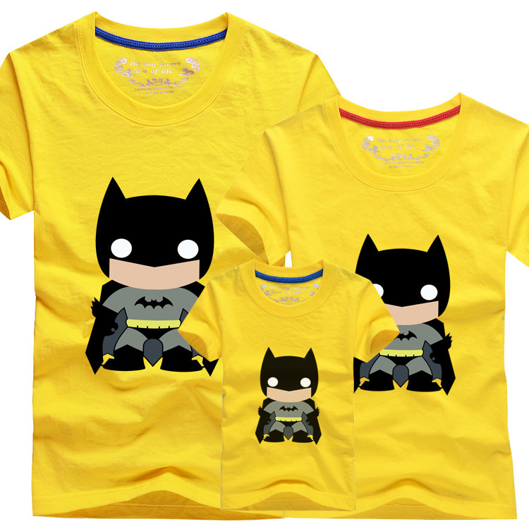 2015 Family Shirts Set Summer Fashion Knitted Short Sleeve Batman Character Print Father Boy Mother Girl Matching Clothing Sets(China (Mainland))