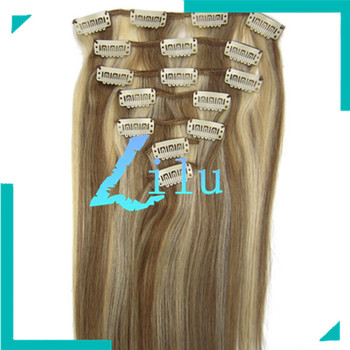 """TOP QUALITY 20""""Clip in 7pcs Hair Extension #12/613 light brown/light blonde ,70g/set"""