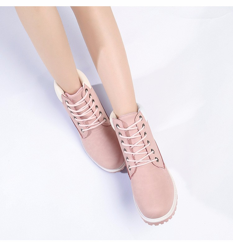 Women Martin Boots Hoof Heels England Style Ankle  Working Boots Retro Women Boots High Top Woman Casual Shoes Plus size 36-41