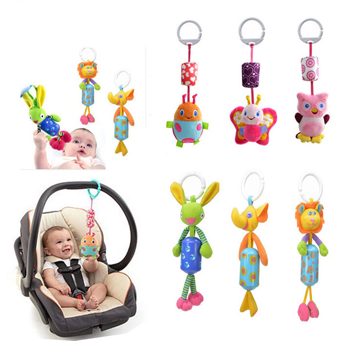 Baby Infant hand bell Rattles windbells animal shape bed/car hanging bells educational toys plush dolls - LED-Lo store