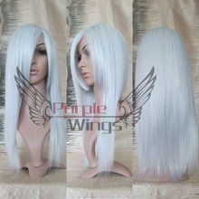 Heat Resistant Anime Fashion long White Cosplay Party Wig 60cm + Free Wig Cap