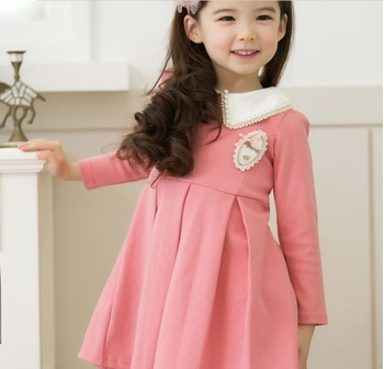 (100-140cm) 5pcs/lot  New arrival Autumn-winter Long Sleeve A-line lace Doll brought Baby Girl dress preppy style/ blue,pink