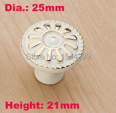 25mm Small Ivory White Single Hole Furniture Handle Garden Art Design Filigree Cabinet Handle For Door Pulle(China (Mainland))