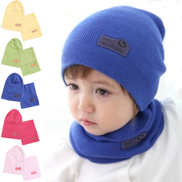 6 Colors Spring Children Hedging Cap Scarf Suit Leather Standard Solid Color Candy Colored Wool Hats