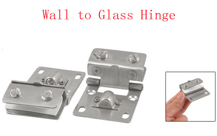 Cabinet Glass Door Wall Mounted Metal Hinge Silver Tone 4pcs(China (Mainland))
