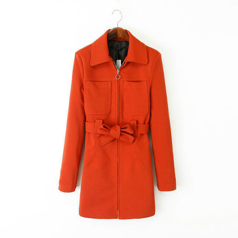 Women long slim red trench coat zipper bow tie waist casual office work out fit turn-down collar long sleeve outerwear CT1133(China (Mainland))