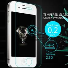 Ultra Thin 0.2mm Premium Explosion-Proof Clear Tempered Glass Screen Protector Film for iphone 4 4G 4S +Retail Package