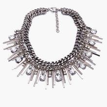 Hot Fashion 2015 XG166 Chunky Tassel Necklaces Pendants Multi layers Silver Bar Chain Choker Silver Tassel