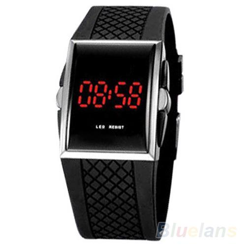 Men Women Casual Unisex White Black LED Digital Sports Wrist Watch Wristwatch Date Clock 01KT 489C