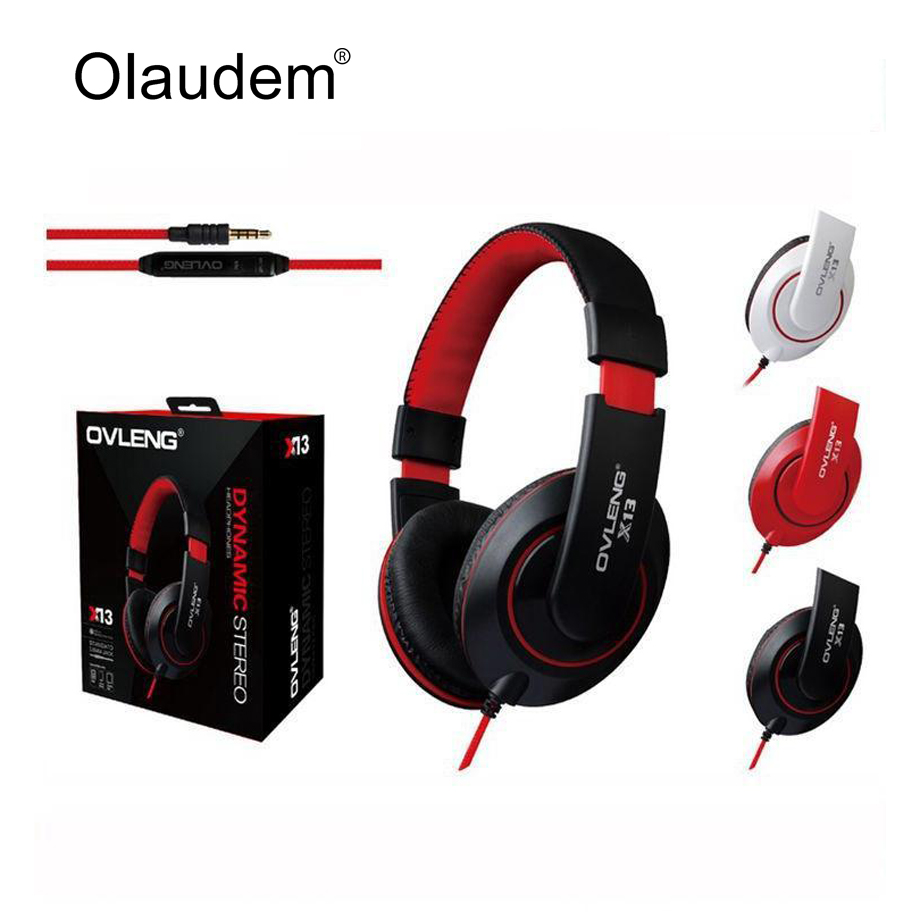 Headphones Earphone Headset Stereo Wired Head Phone Microphone MP3 Game Computer PC Mobile Headphone Earphones X13 - OLAUDEM Store store