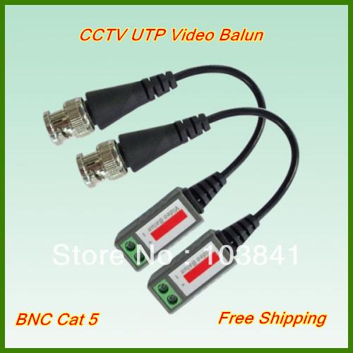 Freeshipping Single Channel CCTV Video Balun passive Transceivers UTP Balun BNC Cat5 CCTV UTP Video Balun up to 3000ft Range(China (Mainland))