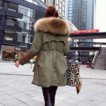 Зима пальто хлопок, зима пальто женщины куртки настоящее большие енот мех воротник ...