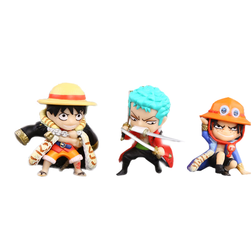 3pcs/set One Piece Luffy Zoro Hat Ace Action Figure 4cm Mini Japan Anime Collection Kids Toys Nice Gifts #F(China (Mainland))