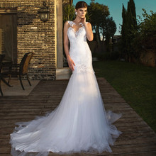 Buy Mermaid Wedding Dress 2016 Vestido de Noiva Vintage Lace Appliqued Sheer Neck Open Back Court Train Bridal Gowns Custom Made for $220.33 in AliExpress store