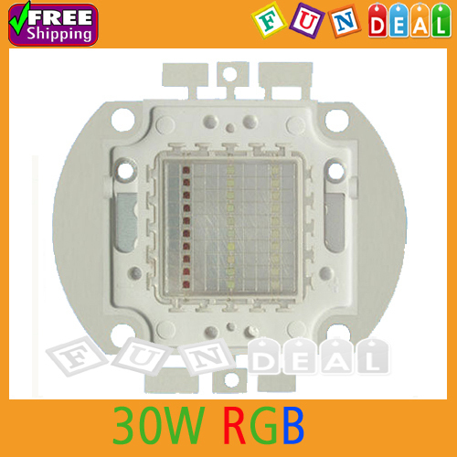 Free shipping! Epistar 30W RGB Full Rainbow Color High Power LED Light Emitter Metal Plate 350mA-400mA for DIY Wholesale