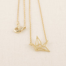 2016 Fashion 18k Gold Plated Origami Crane Pendant Necklaces for Women Simple Origami Bird Animal Couple Necklace N006(China (Mainland))