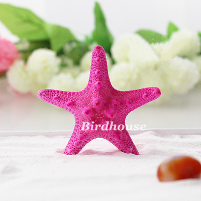 Natural Air Dried Bun 7-8 cm White/Blue/Rose Red Starfish Specimens Mediterranean Style Home Wedding Decoration (Pack of 10)(China (Mainland))