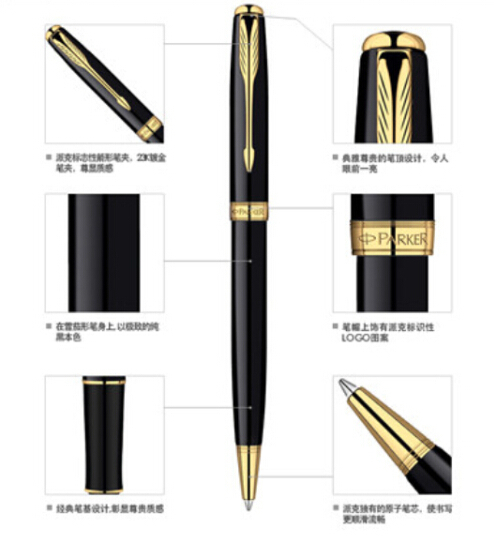 Black Silver Metal Parker Brand Ballpoint pen Ball Point Business Canetas for Writing Custom Print Logo Gifts Free shipping 072(China (Mainland))
