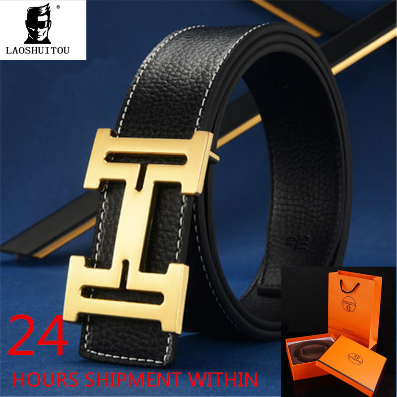 luxury brand belt Fashion High Quality Cowskin Genuine Leather Belt for Men and Women Waist Belts Wtih Gold Silver H Buckle Box(China (Mainland))