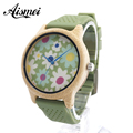 2016 Top brand Women Bamboo Wooden Bamboo Watch flower fabric face soft rubber strap Quartz Women