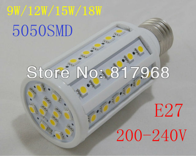 E27 9W 12W 15W 18W 5050 SMD LED Corn Light Bulb Lamp Lighting 200-240V AC CE ROHS