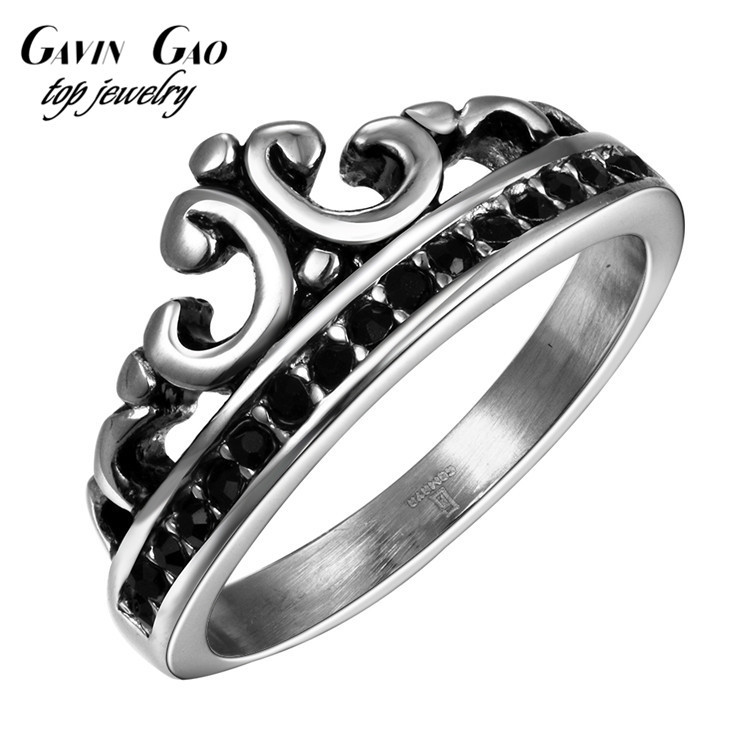 Delicate Black AAA+ CZ Diamond Crown Ring For Men Titanium Steel Punk Vintage Retro Man Jewelry(China (Mainland))