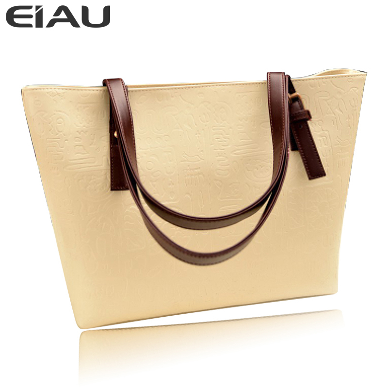 Vintage Letter Embroidery New Embossed Stripe Genuine PU Soft Leather Bags For Women Handbags Nessenger Bag Bolsas Casual Tote(China (Mainland))