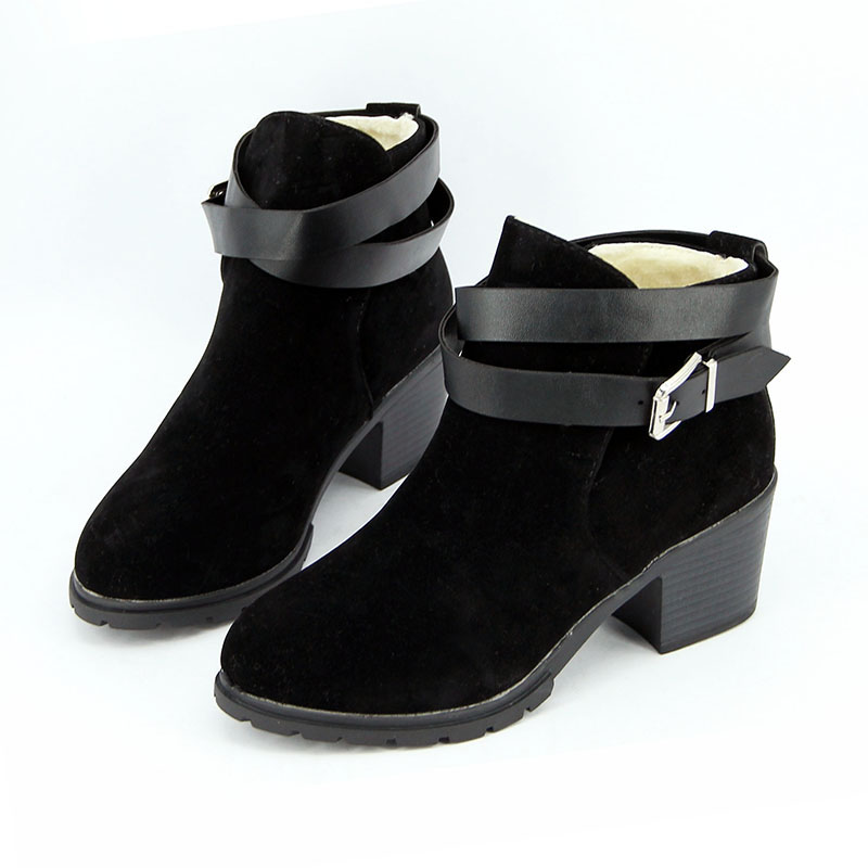 boots snow buckle winter shoes ankle high heel