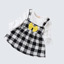 infant baby girl dress 2016 new cute princess dress long sleeve O-neck knee-length bow patchwork plaid kids girls dress(China (Mainland))