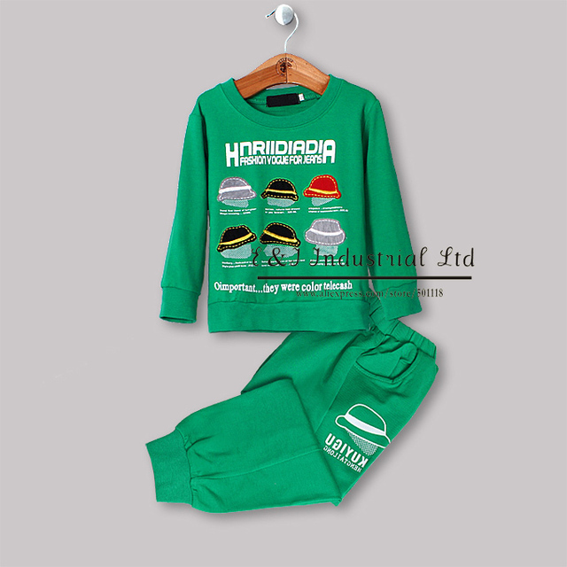 New 2013 Cotton Children Clothing Set for Baby Boys and Girls  Green and Red Top and Pants for Kids Wear 2PC /SET