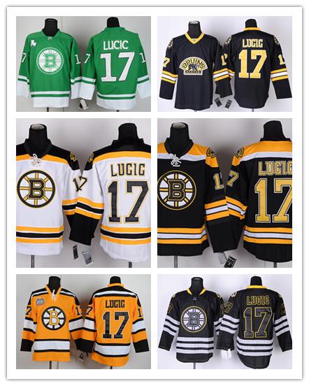 Ice Hockey Boston Bruins Jerseys, Men's Boston Bruins #17 Milan Lucic Jersey Black Ice White Yellow Green Third Stitched Jerseys(China (Mainland))
