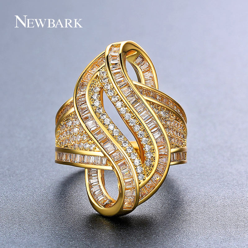 NEWBARK Special Novel Design S Shaped Women Cocktail Rings Unusual Spiral Cubic Zirconia Ring Paved AAA CZ White Gold Color(China (Mainland))