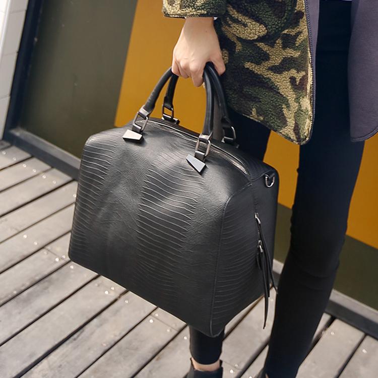 High fashion boston bag snake skin pattern leather bags women's travel handbags high quality designer female big tote cabas(China (Mainland))
