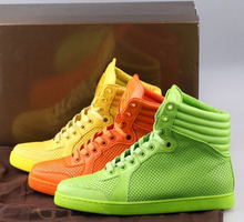 2015 High top sneakers Fashion Autumn lace up Genuine Leather Green Orange Neon  Sneaker High quality New Women&Men Shoes(China (Mainland))