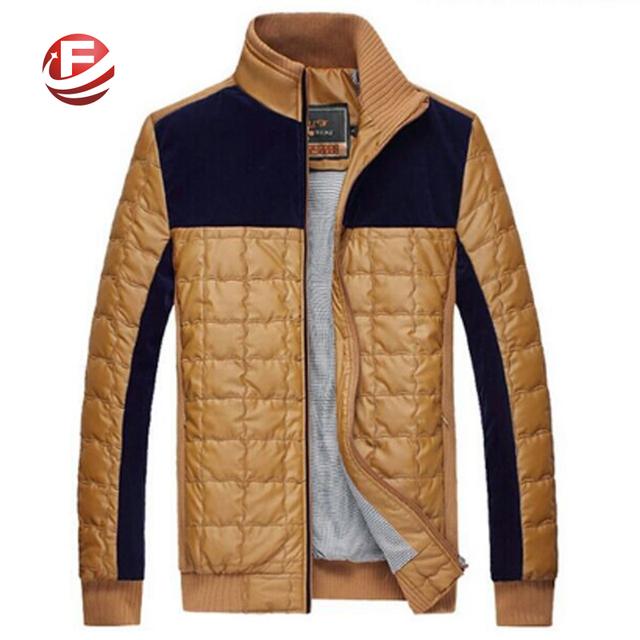 Мужской мода зимнее пальто мужчины свободного покроя лоскутное теплая куртка плед ...
