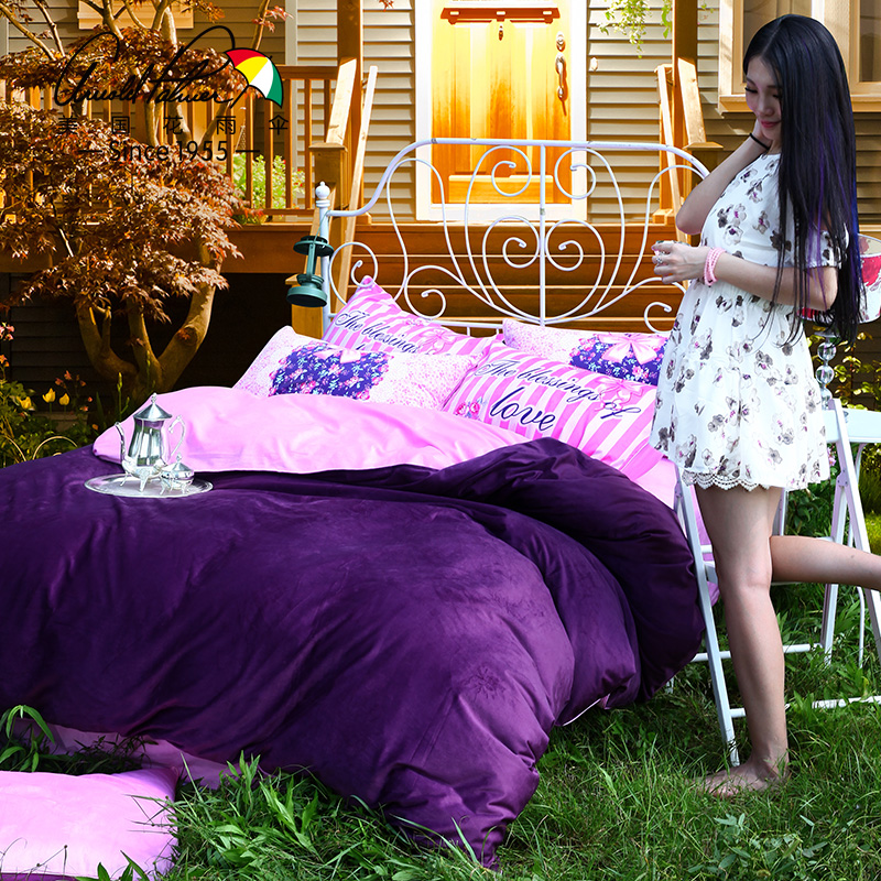 The United States flower umbrella textile color cartoon soft velvet four sets of stylish and comfortable quilt(China (Mainland))