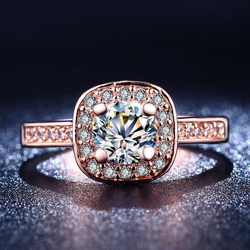 rose Gold Plated ring CZ diamond jewelry Finger Rings For Women engagement wedding party vintage BAGUE bijoux Wholesale MYR 192(China (Mainland))