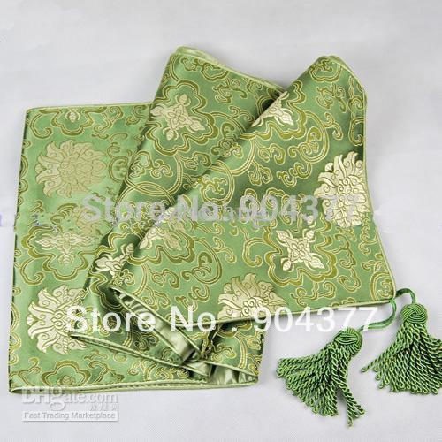 Gorgeous extra long 120 inches green damask table runners for 120 inches table runner