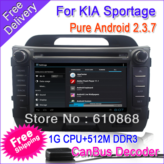 "FREEShipping 2 Din Car PC Radio DVD For ""KIA Sportage R"" Android 2.3.5 7"" screen GPS 800Mhz CPU+512M DDR2 3G Wifi IPOD+CanBUS"