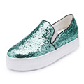 New Fall Fashion Glitter Style Hot Women Casual Shoes Shiny Gold Sliver Loafers Flat Shoes a