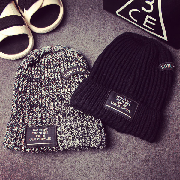 2015 new Men and women beanie letters BOWLLER knitted cap fashion warm winter hat free shipping(China (Mainland))