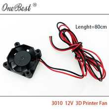 DIY Parts DC 12V 30MM 3CM 30X30X10MM 3D printer head fan for 3D printer accessories with 2Pin length 80cm free shipping