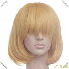 Long Bang New Arrival Light Yellow Blonde 35cm Women Short Straight Cosplay Wig Free Wig Cap(China (Mainland))