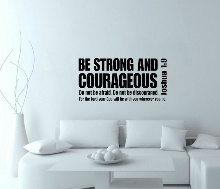Scripture Wall Art Home Decor ~ Joshua be strong and courageous bible verse scripture