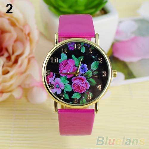 Women's Rose Flower Dial Faux Leather Strap Quartz Analog Casual Wrist Watch 1NMM - BlueSky- store