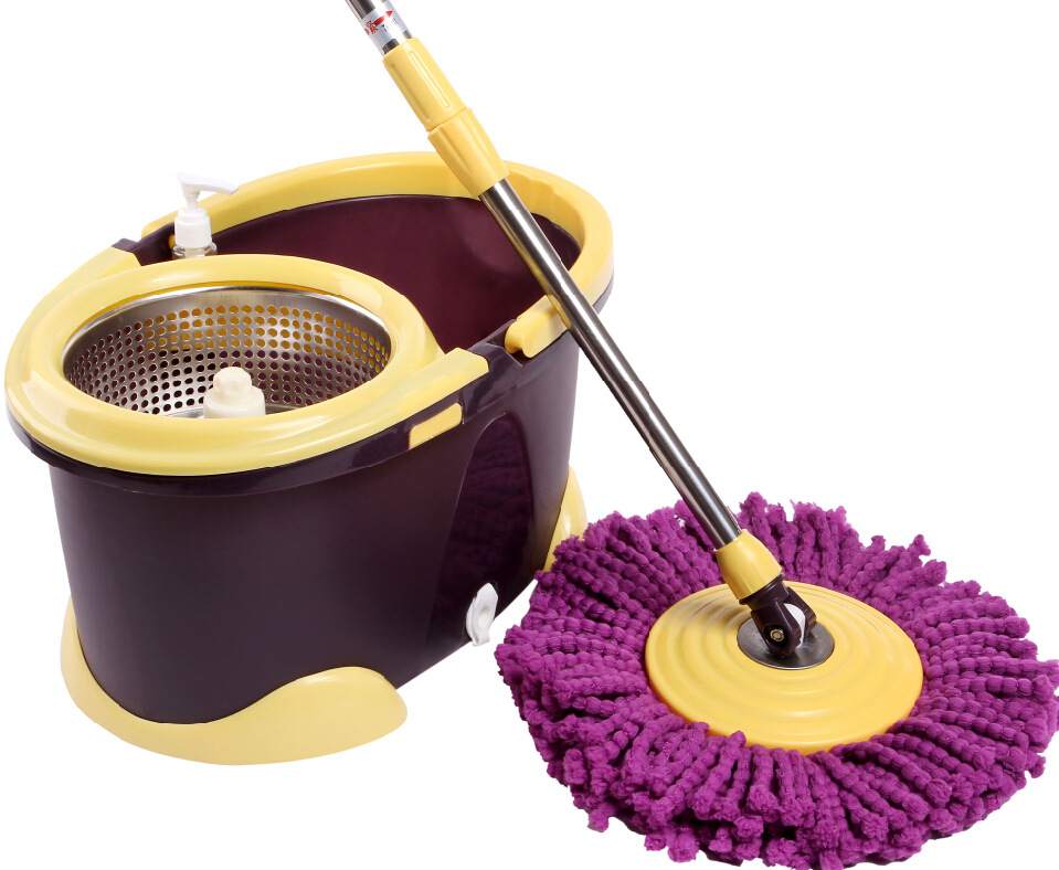 YoHere living home clean tools double drive rotary mop retractable stainless steel mop rod and basket(China (Mainland))