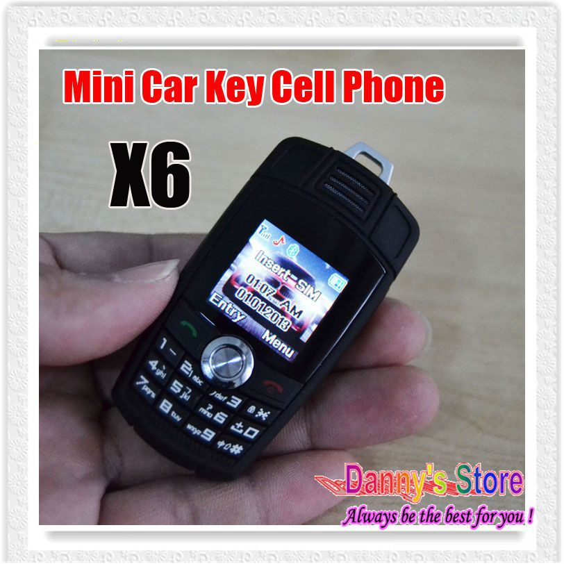 DHL 20PCS/LOT X6 Mini Car Key Cell Phone Cute Mobile Phone X6 Kids Student Cell Phone With Bluetooth FM MP3 Radio(China (Mainland))