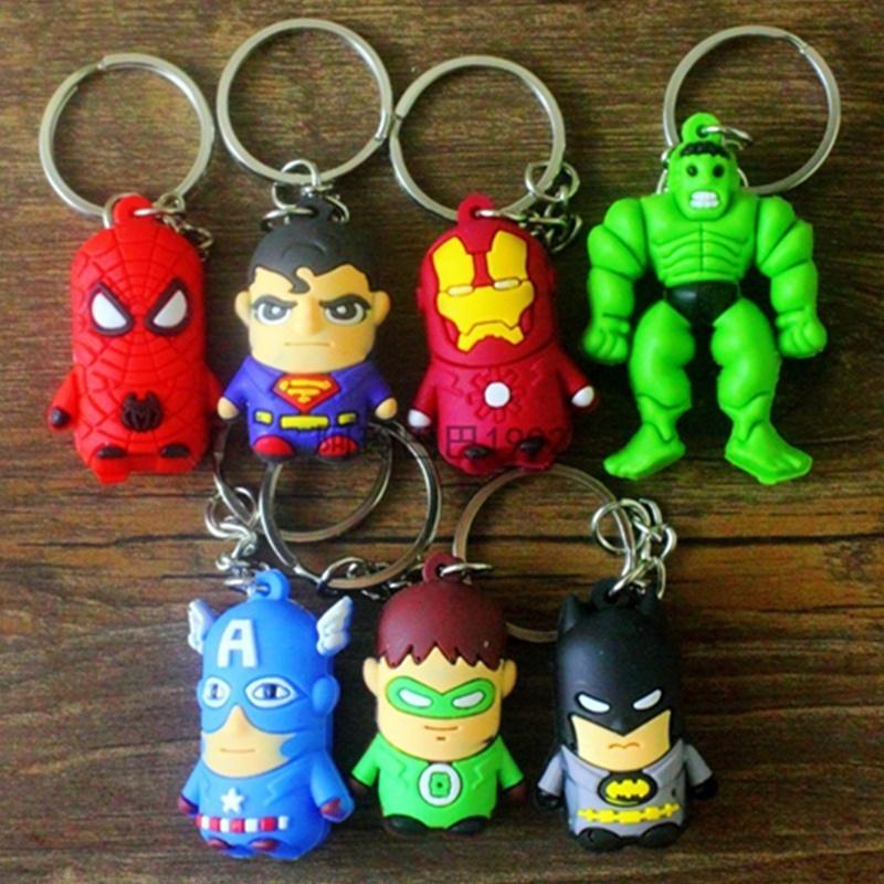 3pcs Super cute Marvel Super hero Avengers Keychain Spider Man/Batman/Superman/Captain America/Green Lantern Pendant Key Ring(China (Mainland))