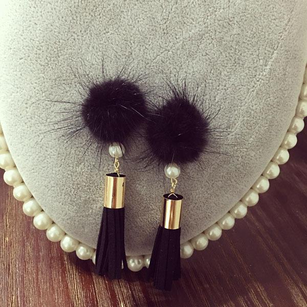 Роскошные волосы мяч имитация перл серьги для женщин ювелирные изделия, Старинный кожаный долго кистями мотаться для девочки подарок, E091