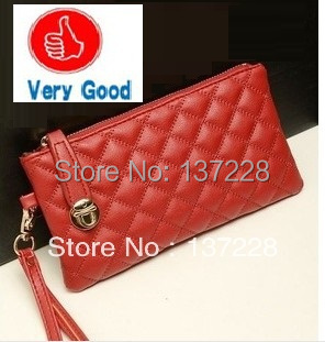 2014 New Korean fashion designer women's wallets lady leather rhombic imitation handbag iphone purse wholesale free shipping(China (Mainland))